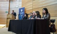 Integrantes de la comisión generadora de estatutos Nikos Ortega, Roberto Barrientos, Luis Poblete, Mónica Álvarez y Paula Fernández.