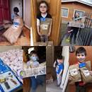 Collage entrega kits a niños